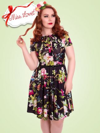 GLORIA_D01 Tropical Pussy-Bow Swing Dress - EXPRESS