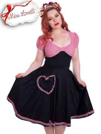 BETTY_34 Circle Skirt Heart Pockets Black/Red Gingham