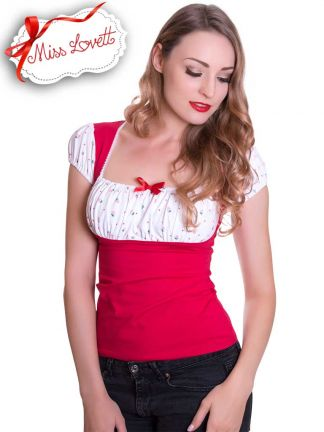DOLLY_17 Strawberry Dirndl Shirt RED/WHITE - EXPRESS
