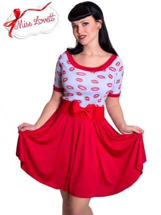 MIA_D02 Red Lips Valentines Swing Dress KISS ME - EXPRESS