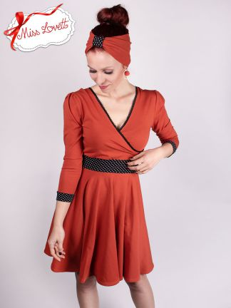 MARIANNE_D02 Back-Bow Swing Wrap Dress RUST/Dots - EXPRESS