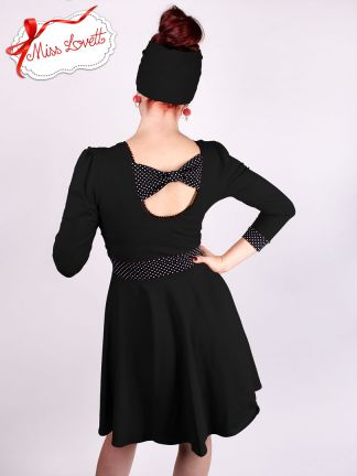 MARIANNE_D01 Back-Bow Wrap Swing Dress BLACK/Dots - EXPRESS