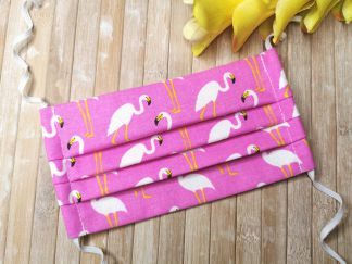 LIMITED Face Mask with Elastic or with ties - FLAMINGOS