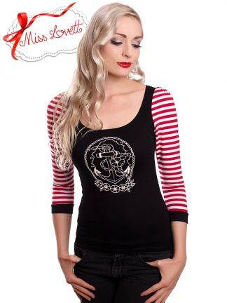 JASMIN_07 3/4 Longsleeve Red/White Striped ANCHORLOVE