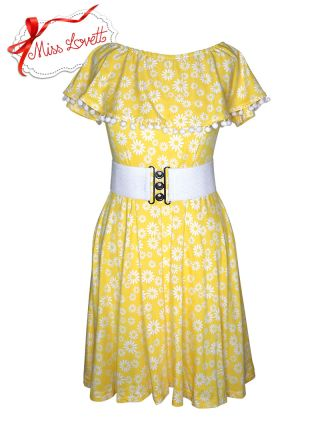 MILLIE_D02 Pom Pom Carmen Dress Yellow Daisies