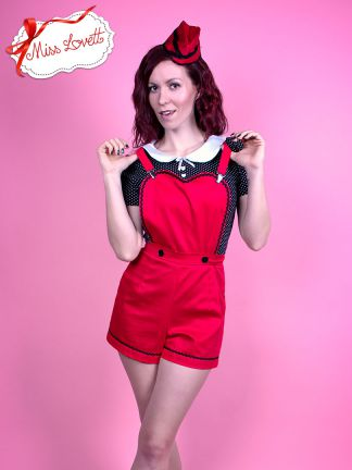 HUNNY_02 High Waist Pinafore Shorts RED