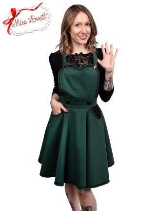 BIBIANNE_03 2-Way Pinafore Bib Dress / Suspender Circle Skirt - FORREST GREEN