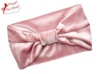 BELLA_28 Stretchy 1920s Turban Headband Velvet DUSTY PINK