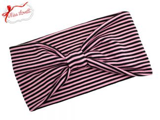 BELLA_30 Stretchy 1920s Turban Headband Pink Stripes