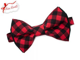 Pre-Tied double BOW-TIE Red/Black Buffalo Plaids