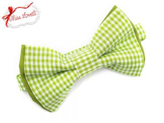 GÜNNI_16 Pre-Tied bow tie green/white gingham