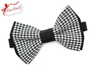 GÜNNI_29 Pre-Tied bow tie black/white gingham