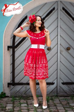 BILLIE_D06 Carmen Embroidery Dress RED STITCHING - EXPRESS