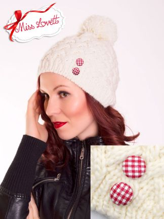 Winter Pom Pom Knitted Hat - OFF WHITE/Red Gingham