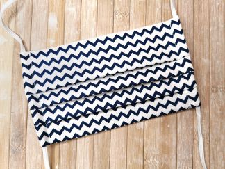 Face Mask with ties or elastic - NAVY CHEVRON