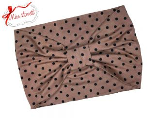 BELLA_56 Rockabilly Turban Headband CINNAMON DOTS