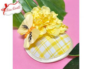 LEMON VIBES Mini-Fascinator Yellow Plaids Flower and Butterfly