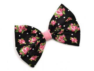 HAIRBOW_35 Roses & Polkadots Black/Pink Hairbow