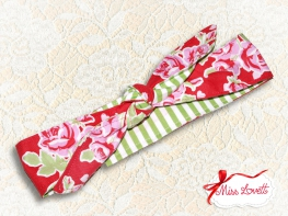 MAE_56 Reversible Headband 2-in-1 Roses & Green/White Stripes