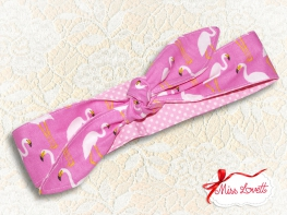 MAE_66 Reversible Headband 2-in-1 Pink Flamingos & Polkadots
