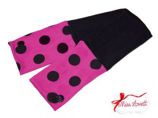 GRACIE_51 Reversible Armwarmers BIG DOTS Hot Pink