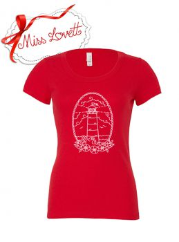 LIGHTHOUSE Oldschool Tattoo Print Girlie Shirt RED