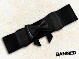 BANNED Stretchy bow Waistbelt - BLACK