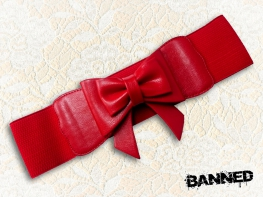 BANNED Stretchy bow Waistbelt RED