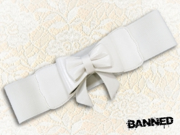 BANNED Stretchy bow Waistbelt - WHITE