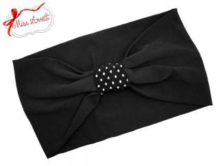 BELLA_37 Stretchy Turban Headband Black/Dots