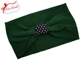 BELLA_38 Stretchy Turban Headband Green/Dots