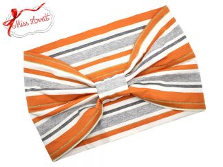 BELLA_40 Turban Headband Orange/Grey Lurex Stripes