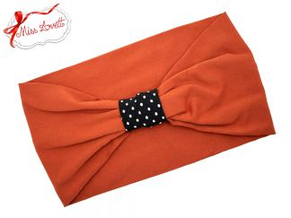 BELLA_39 Stretchy Turban Headband Rust/Dots
