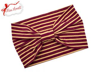BELLA_41 Turban Headband Burgundy/Beige Lurex Stripes
