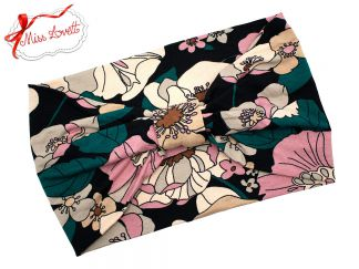 BELLA_42 Turban Headband Teal/Pink/Beige WINTER FLOWERS