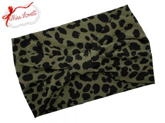 BELLA_43 Turban Headband Olive/Black Leopard