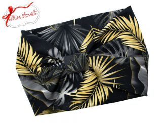 BELLA_57 Rockabilly Turban Headband MIDNIGHT JUNGLE