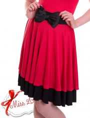 JUDY_02 Double Layer Circle Skirts RED/BLACK