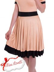 JUDY_05 Double Layer Circle Skirts PEACH/BLACK