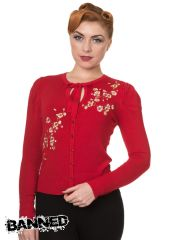 BANNED Cardigan LAST DANCE Blossoms - RED