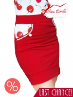 DITA_05 red/white cherry pencil skirt L
