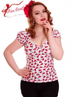 BETSY_19 klassisches Rockabilly Shirt WHITE CHERRIES (LIMITIERT) - EXPRESS